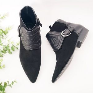 Zara Black Pointed Toe Suede Leather Ankle Booties